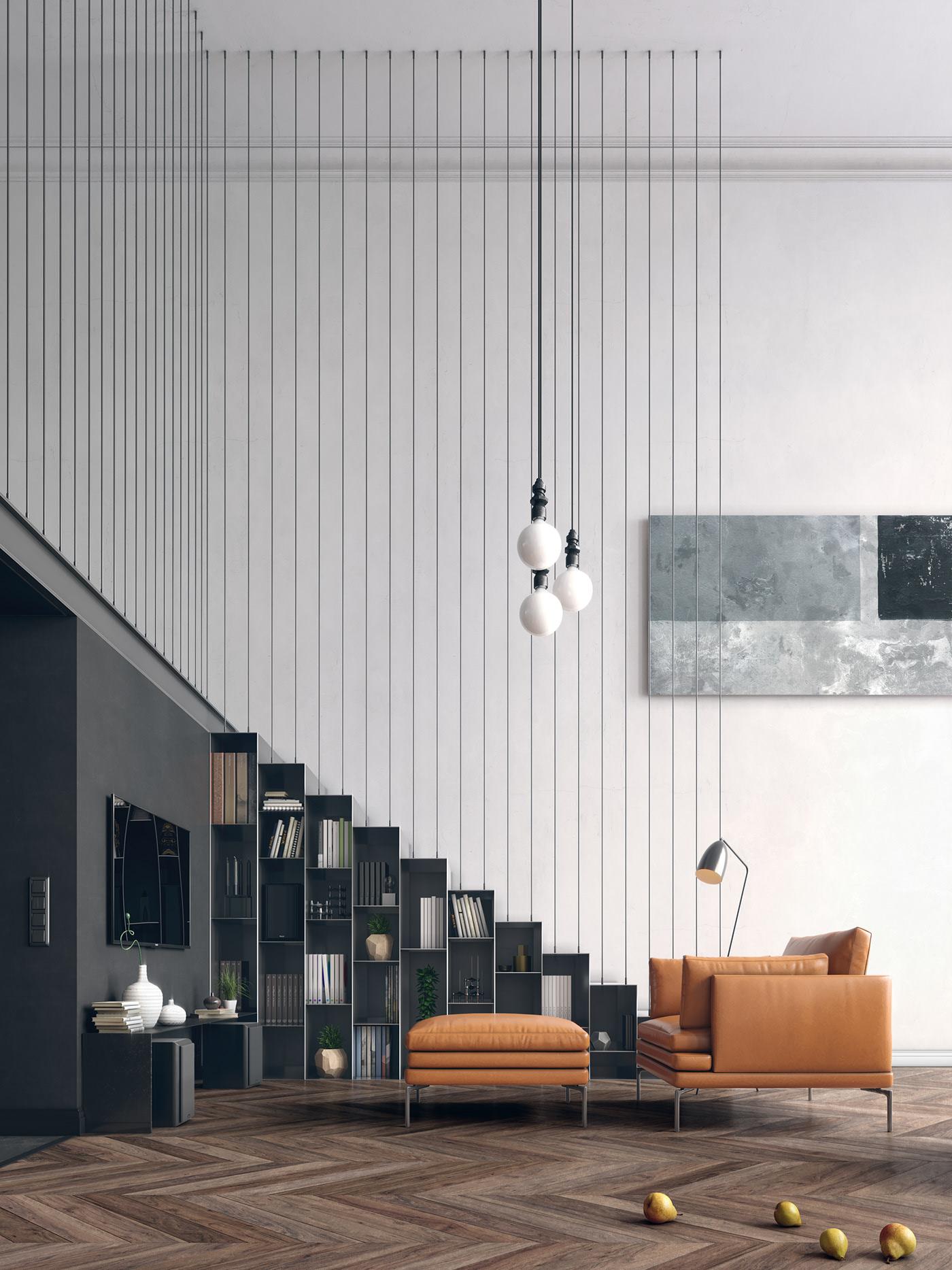 Căn duplex với thiết kế tối giản, hiện đại.