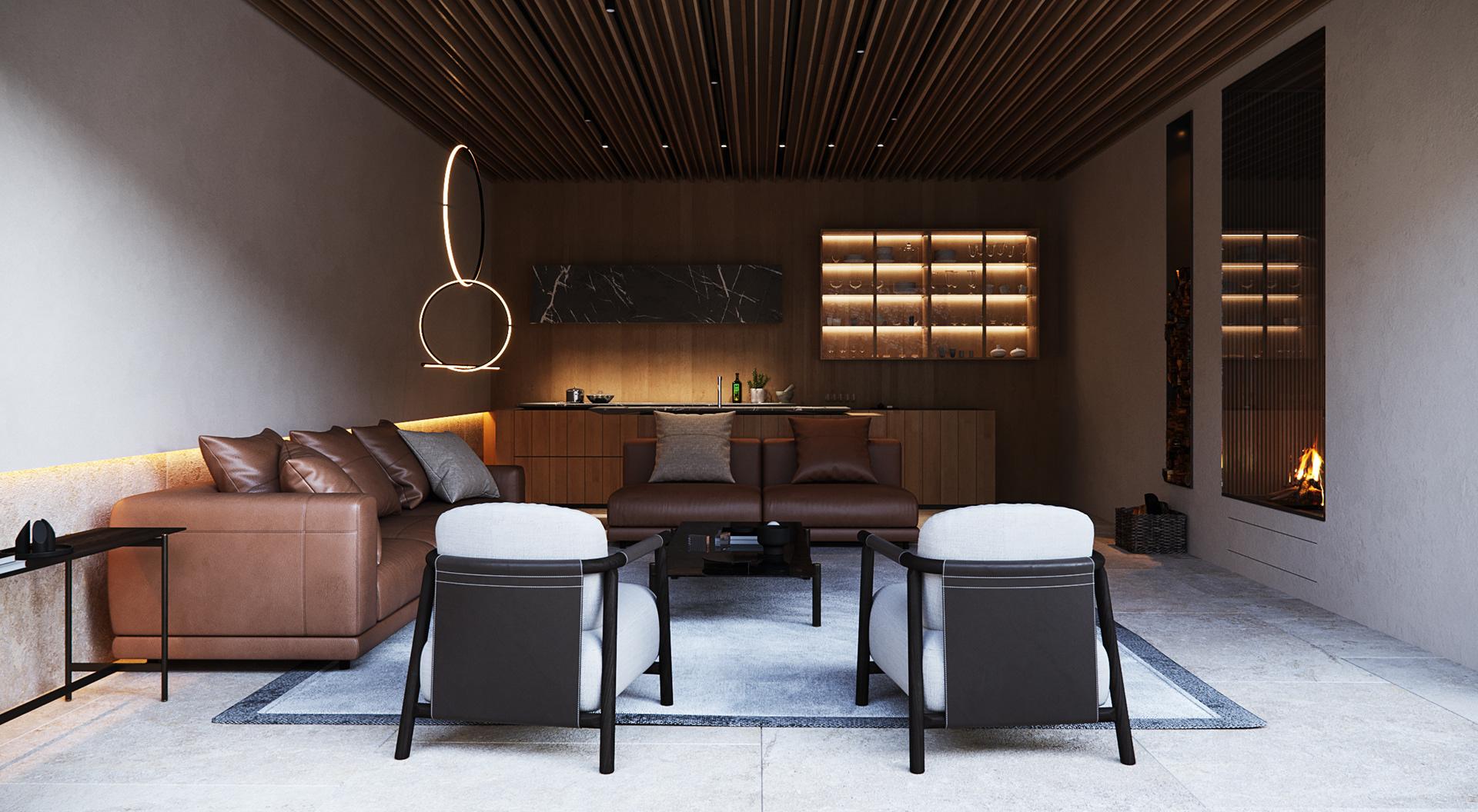 Căn phòng với tone màu trầm thanh lịch của gỗ và màu sắc của sofa.