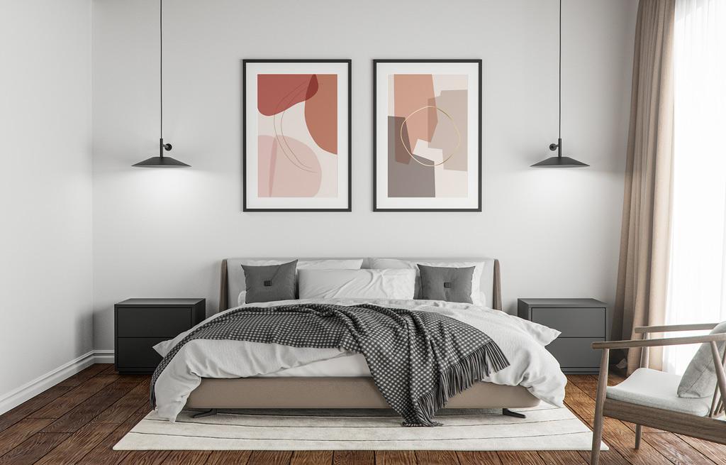 Phòng ngủ được tối giản, gọn gàng và thoải mái