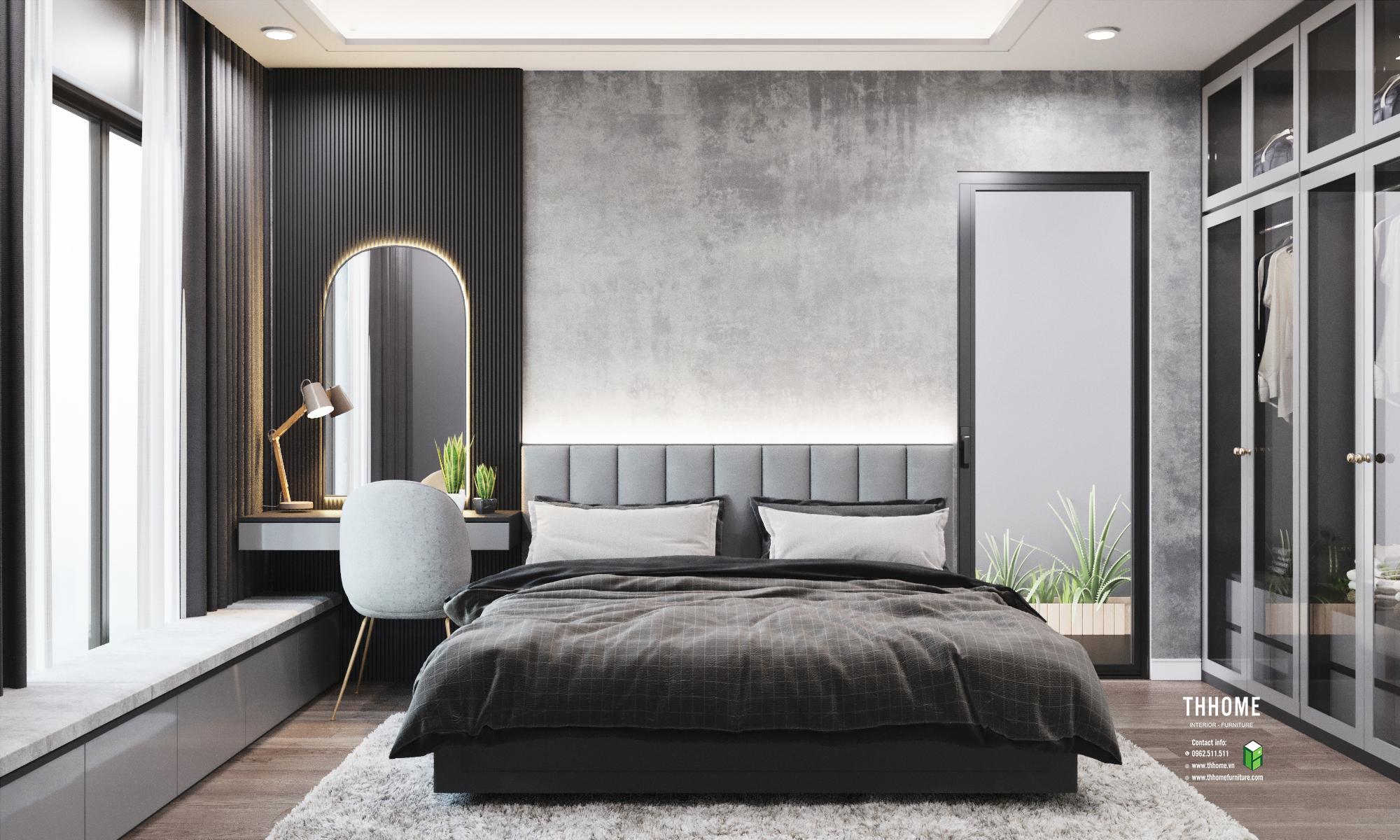 Phòng ngủ cũng đồng bộ với gam màu xám dễ chịu, hài hòa.