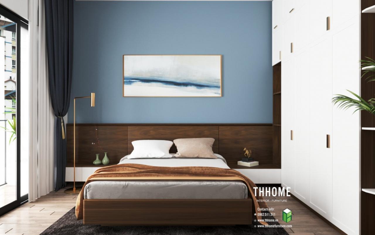Phòng ngủ được thiết kế phù hợp với nội thất nhà phố