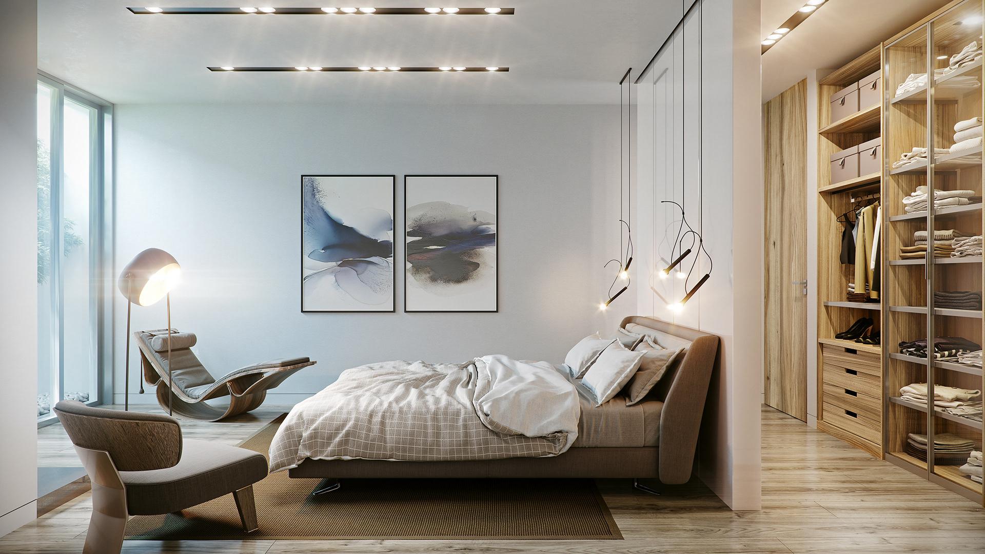 Phòng ngủ hiện đại được tô điểm nhẹ nhàng nhưng vẫn mang đậm chất nghệ thuật.