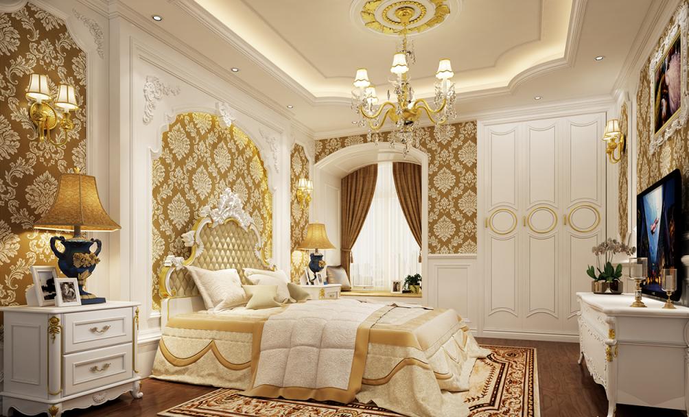 Phòng ngủ với nội thất cổ điển Châu Âu ấm áp, sang trọng mà gần gũi