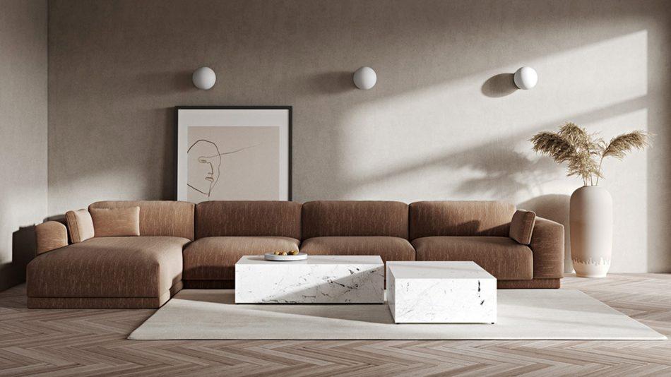 Phòng khách được tối giản với gam màu nhẹ nhàng, thanh lịch