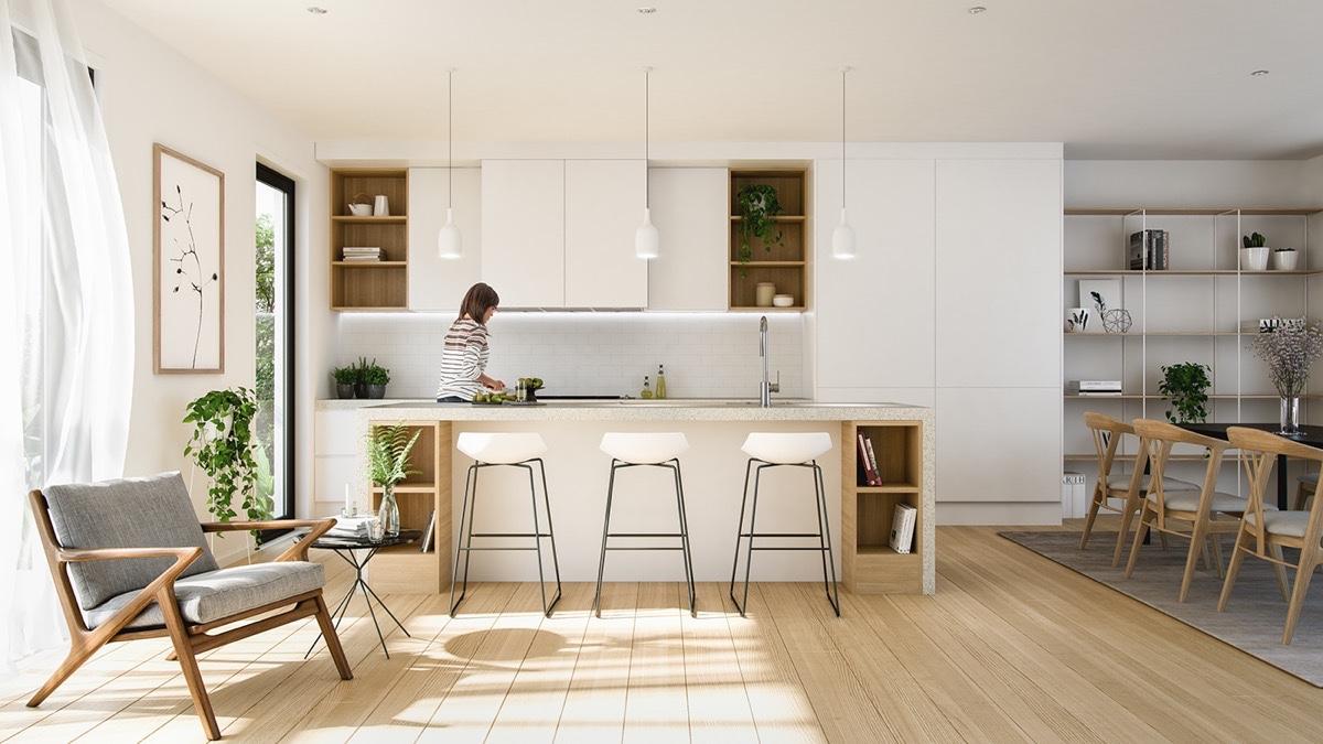 """Phòng bếp theo phong cách tối giản """"chuẩn chỉnh"""" dành cho nhà chung cư"""