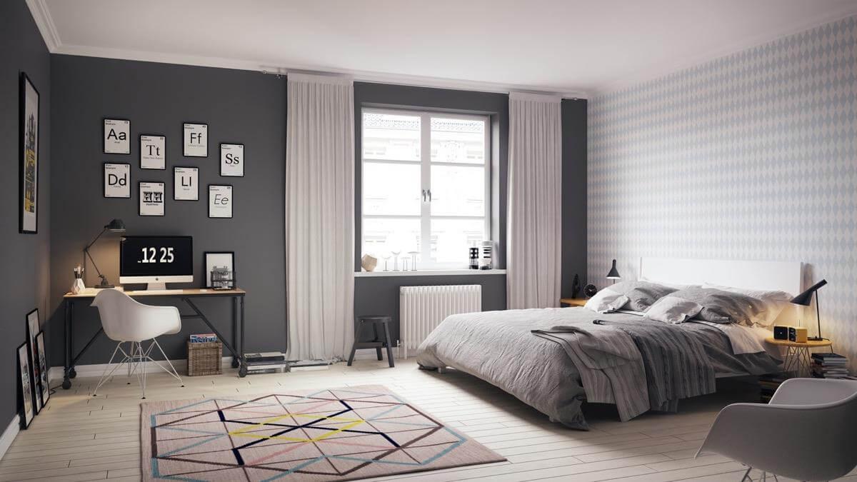 Phòng ngủ nhỏ trong chung cư 2 phòng ngủ tràn ngập ánh sáng và sự sáng tạo trong thiết kế