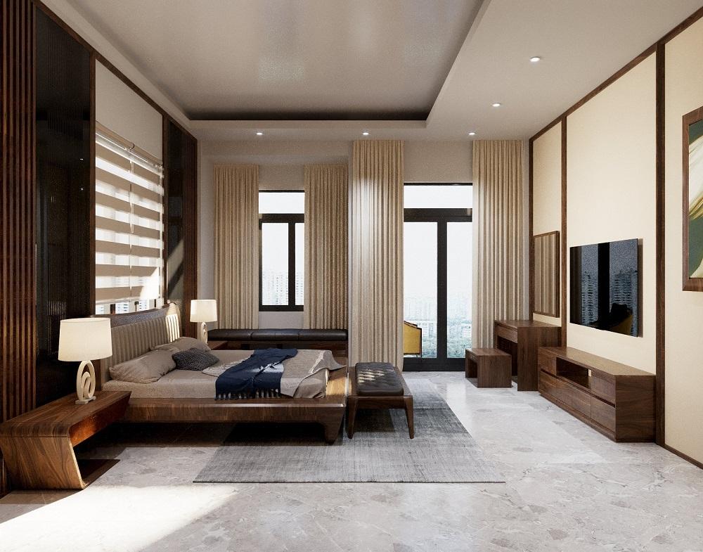 Giường ngủ bền bỉ, chắc chắn với độ bóng bẩy cùng những đường vân tinh tế, hài hòa