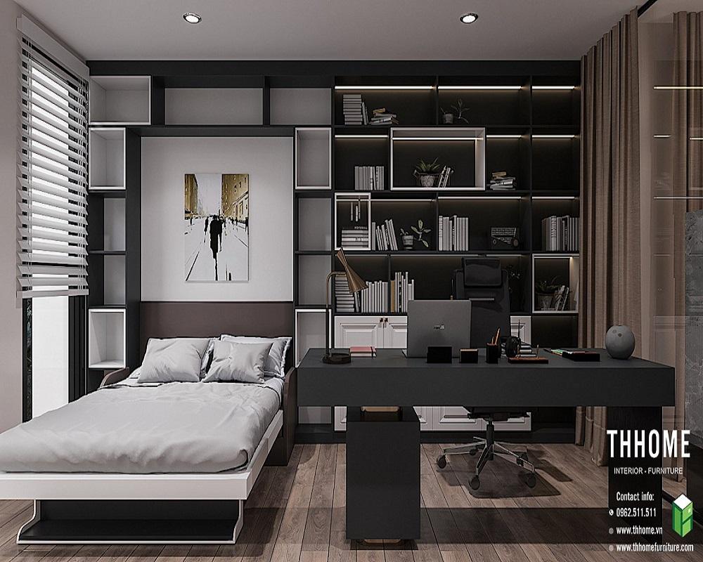 Không gian làm việc ngay tại phòng ngủ với sự tối giản và hiện đại